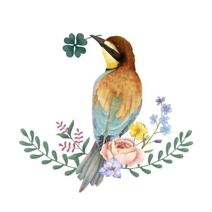 手绘水彩画风格叼着叶子的小鸟站在花朵上免抠矢量图片素材