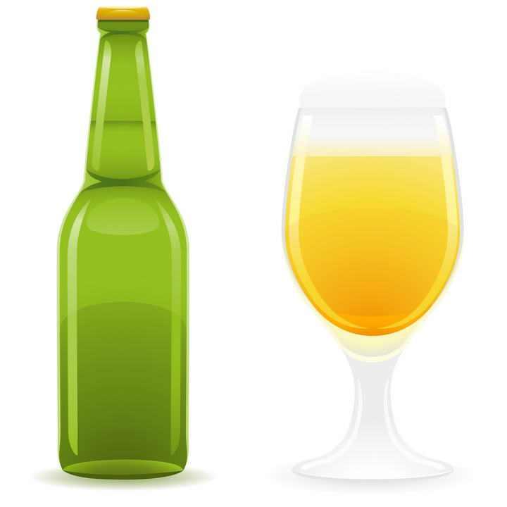 绿色啤酒瓶和葡萄酒杯啤酒杯图片免抠素材