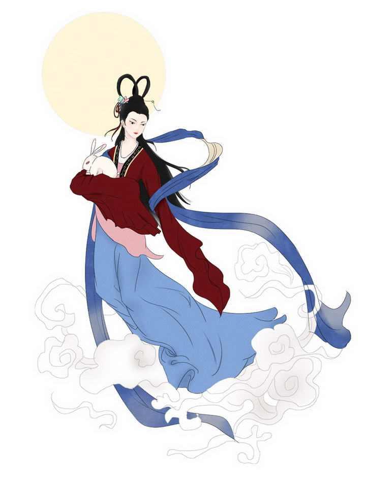 手绘中国传统风格抱着玉兔的嫦娥奔月仙女图片免抠素材