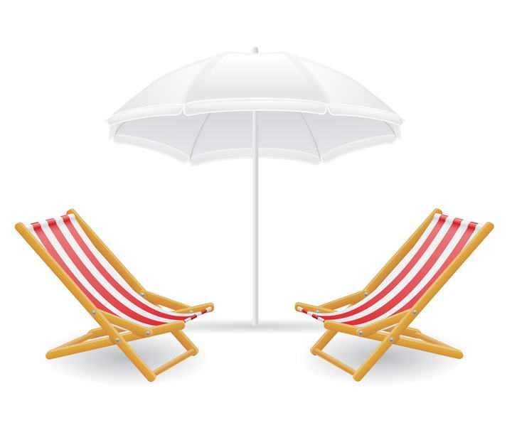 白色遮阳伞沙滩伞下面的两张沙滩椅图片免抠素材