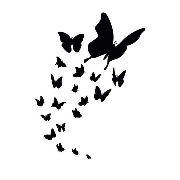 一群蝴蝶剪影装饰图案免抠矢量图片素材