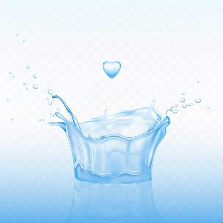 蓝色溅起的心形水花图片免抠素材