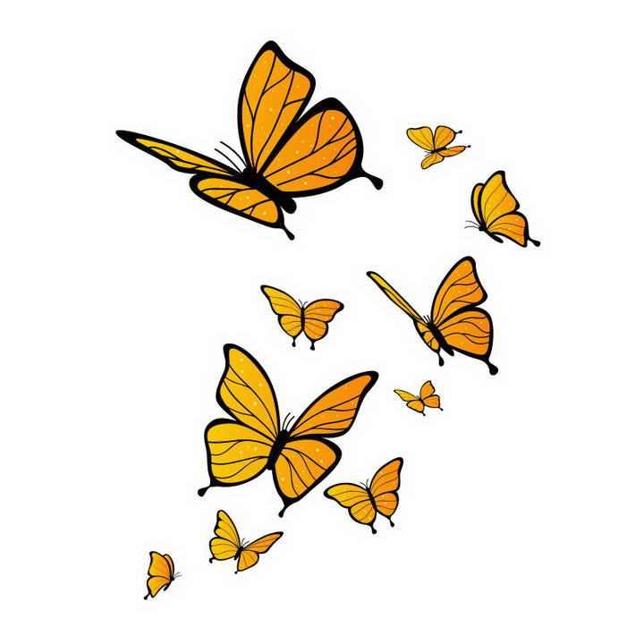 一群橙色蝴蝶装饰图案免抠矢量图片素材