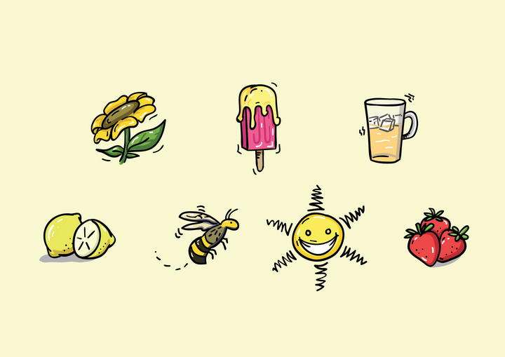 手绘风格花朵冰淇淋柠檬蜜蜂草莓免抠矢量图片素材