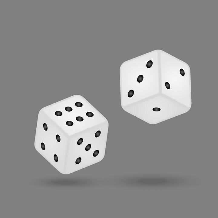 两颗白色的骰子免抠矢量图片素材