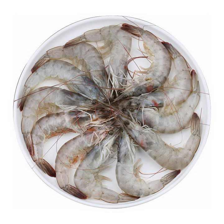 一盘摆放整齐的河虾对虾美食河鲜图片免抠素材