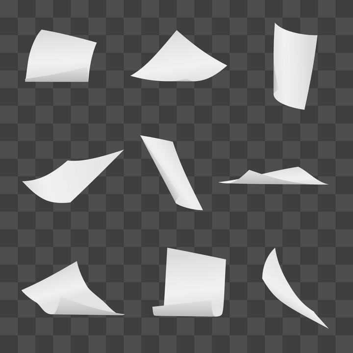 9款不同形状的白纸纸张免抠矢量图片素材