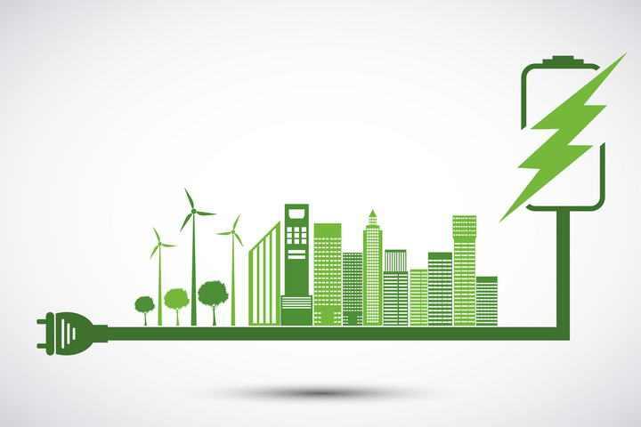 创意绿色能源发电城市剪影图片免抠素材