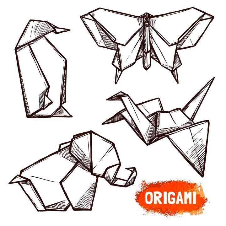 手绘涂鸦风格动物折纸千纸鹤图案免抠矢量图片素材