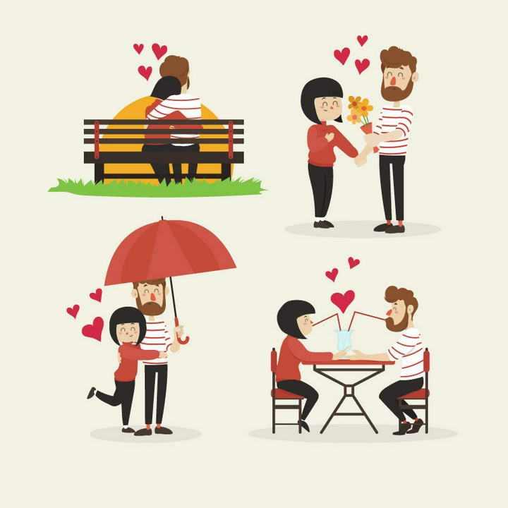 四款爱情依偎在一起的情人情侣图片免抠素材