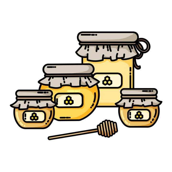 MBE风格的蜂蜜罐中的蜂蜜和蜂蜜棒免抠矢量图片素材
