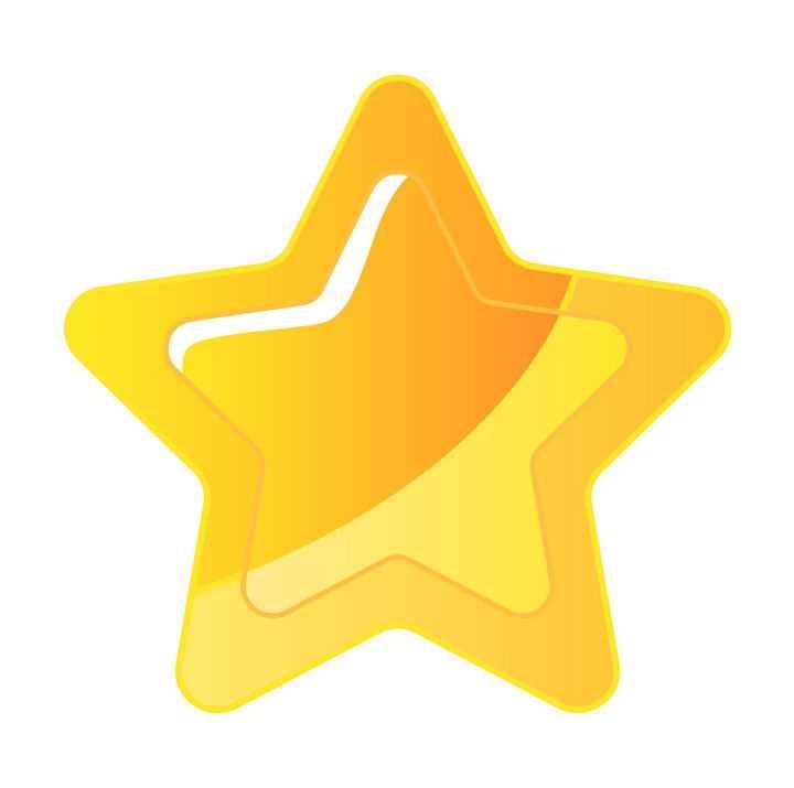 水晶风格黄色五角星圆角星星图案图片免抠素材
