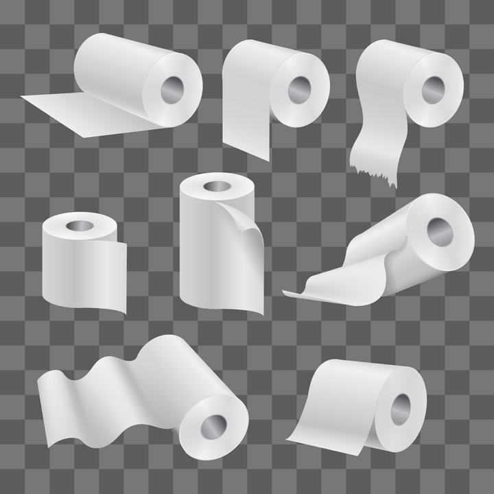 9款抽纸卷纸卫生纸餐巾纸免抠矢量图片素材
