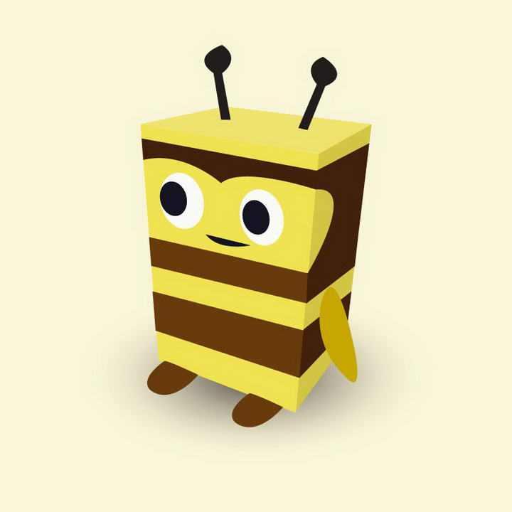 可爱卡通立方体小蜜蜂免抠矢量图片素材