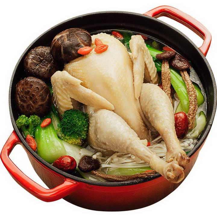 炖锅中的香菇鸡汤美食图片免抠素材
