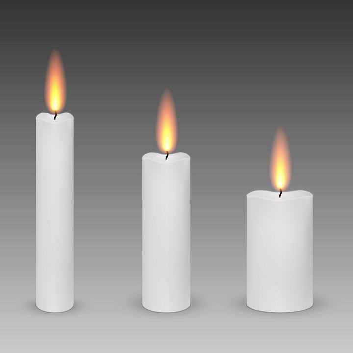 三根长短不一的燃烧着火焰的白色蜡烛免抠矢量图片素材