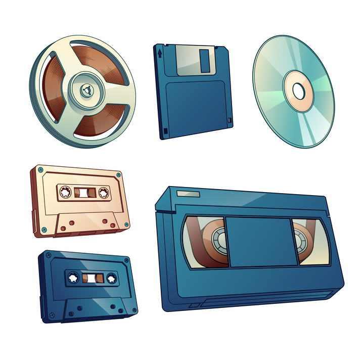 各种唱片磁带软盘光盘图片免抠素材