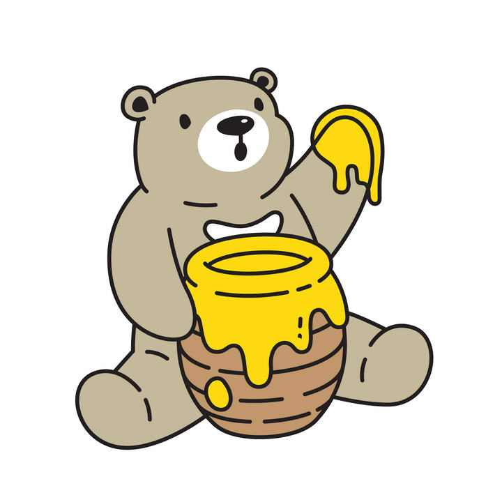 卡通风格的吃蜂蜜的小熊免抠矢量图片素材