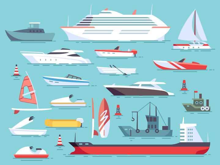 扁平化风格游艇轮船风帆船舶合集免抠矢量图片素材