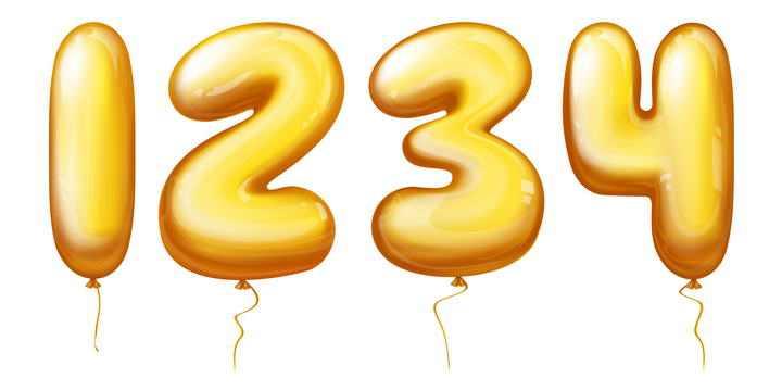 黄色立体气球数字1234图片免抠素材