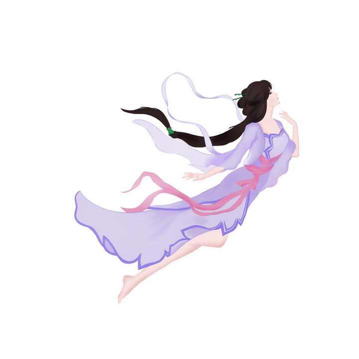 美丽的仙女身穿紫衣的嫦娥奔月仙女图片免抠素材