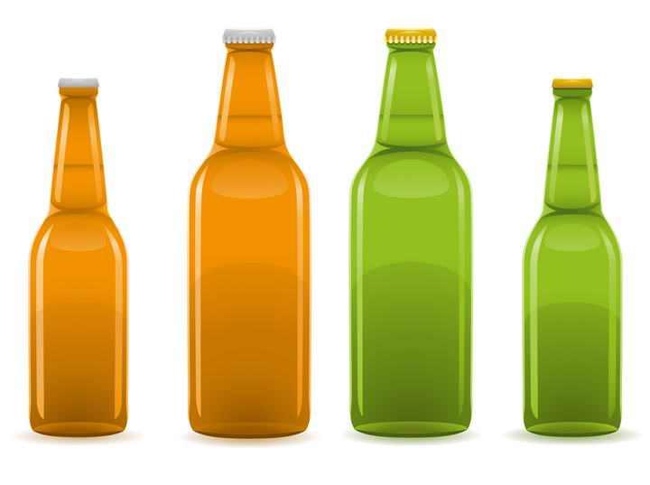 4瓶褐色和绿色的啤酒瓶玻璃瓶图片免抠素材