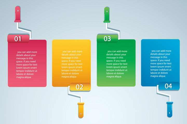 油漆刷风格彩色文本框免抠矢量图片素材