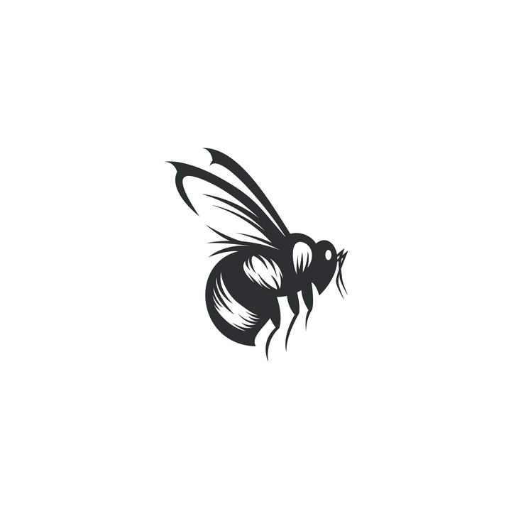 黑色手绘风格马蜂蜜蜂图案免抠矢量图片素材