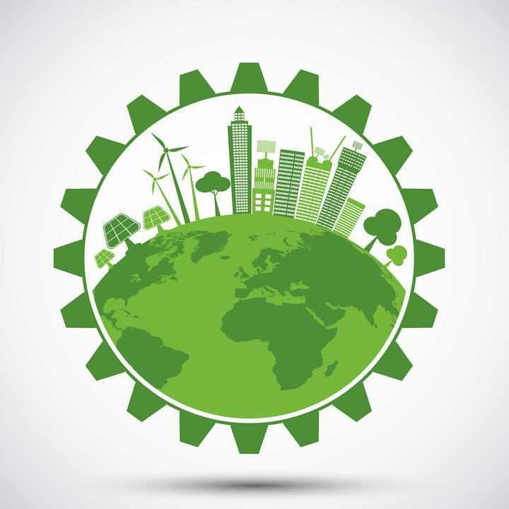 创意绿色齿轮中的绿色地球和城市环保主题图片免抠素材