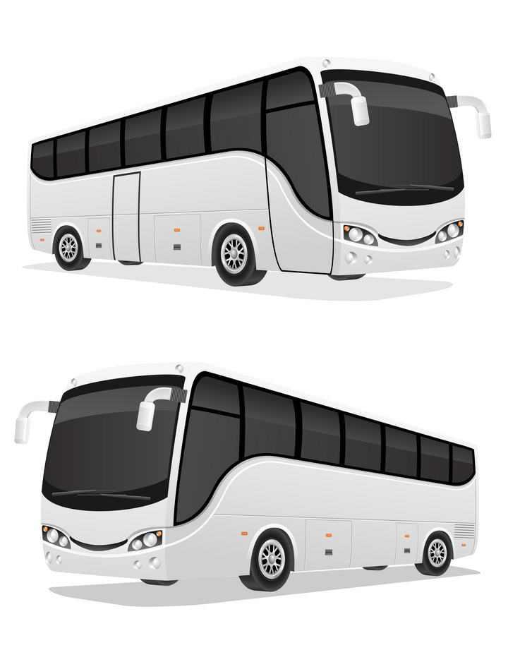 银色长途巴士长途客车图片免抠素材