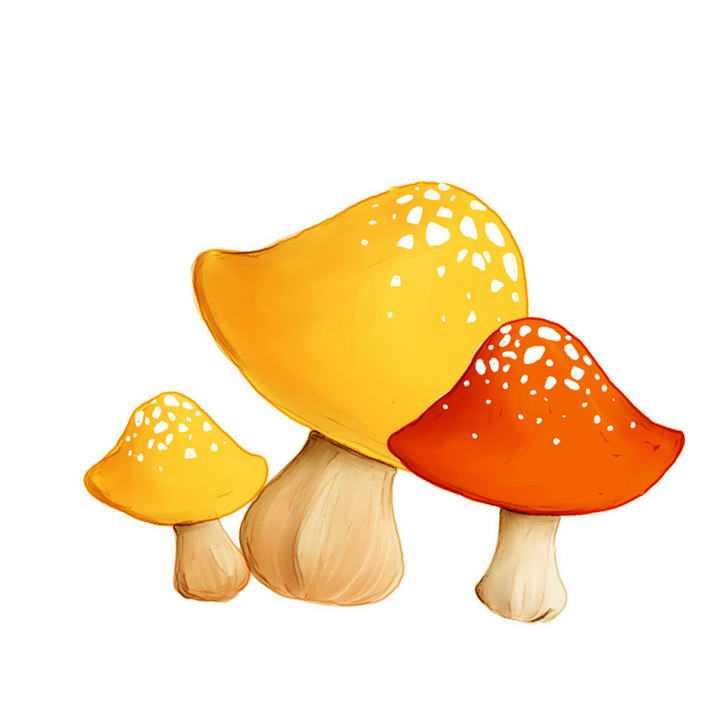 唯美风格的卡通手绘蘑菇图片免抠素材