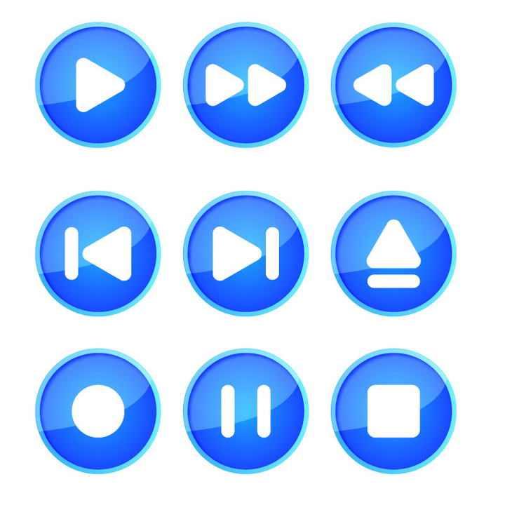9款圆形水晶按钮蓝色播放器播放按钮图片免抠素材