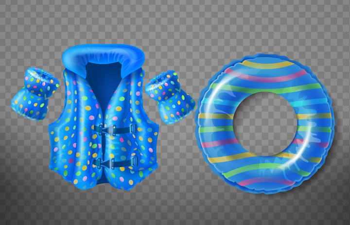 蓝色游泳圈和救生衣图片免抠素材