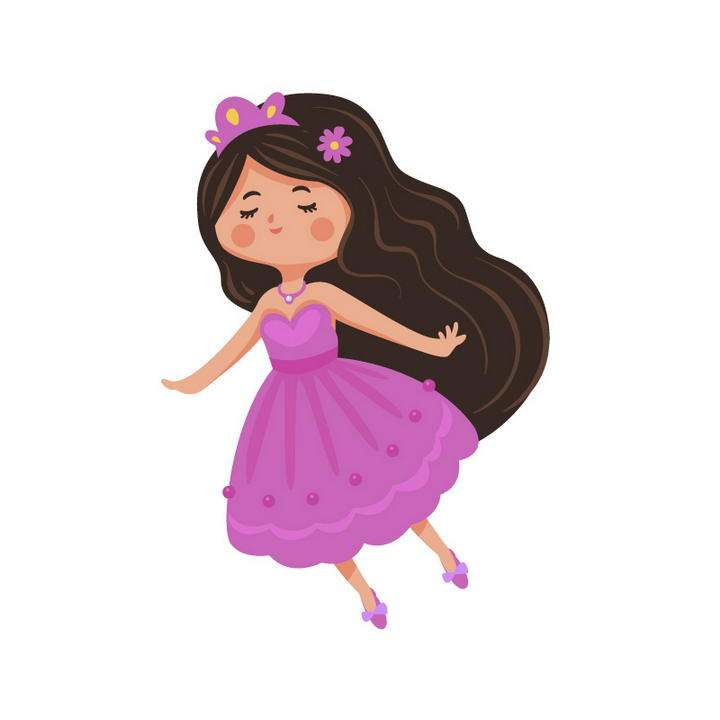 手绘卡通风格做梦的小公主小女孩免抠矢量图片素材