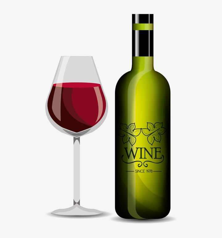 透明高脚杯酒杯和葡萄酒酒瓶图片免抠素材
