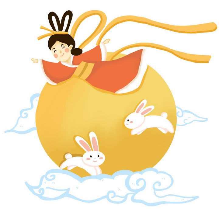 手绘卡通风格嫦娥奔月仙女玉兔月亮祥云图片免抠素材