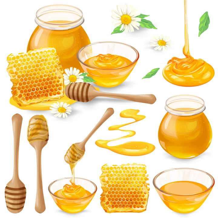 各种各样逼真的蜂蜜玻璃罐玻璃碗蜂蜜棒蜂巢蜜等免抠矢量图片素材