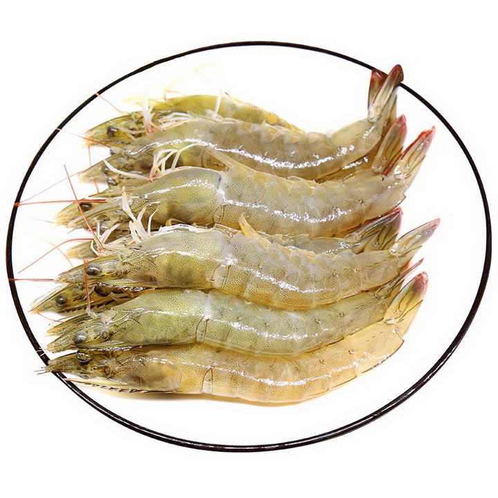 一盘新鲜的河虾河鲜美食图片免抠素材