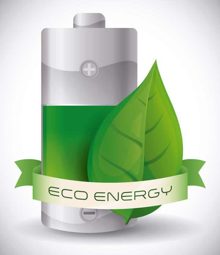 绿色树叶装饰的节能环保电池新能源图标免抠矢量图片素材