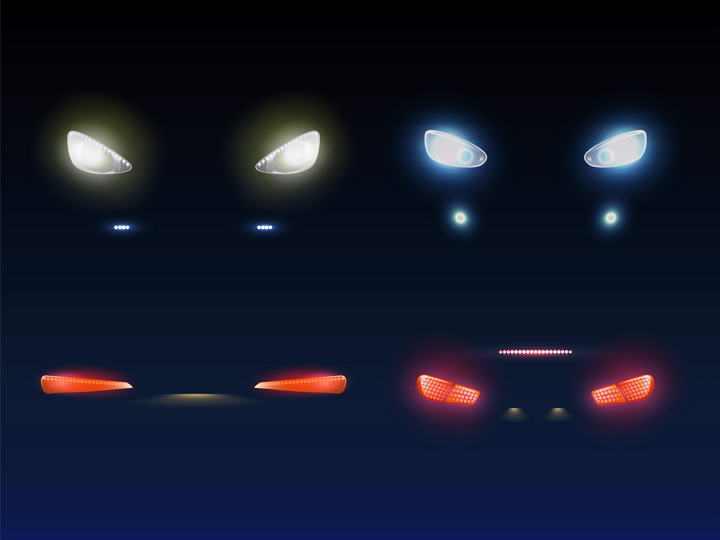 2款黑暗中汽车车头大灯和尾灯图片免抠素材