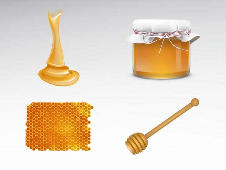 粘稠的蜂蜜与蜂巢蜜蜂蜜罐免抠矢量图片素材