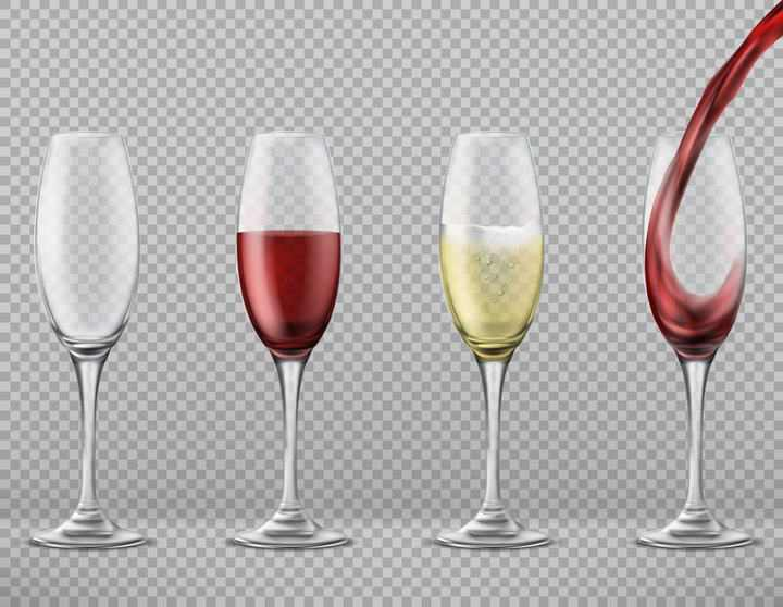 四款透明高脚杯红酒图片免抠素材