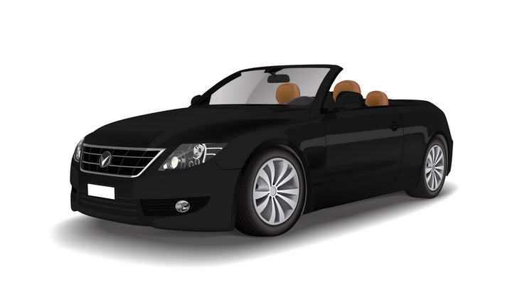 黑色敞篷车汽车矢量图图片免抠素材