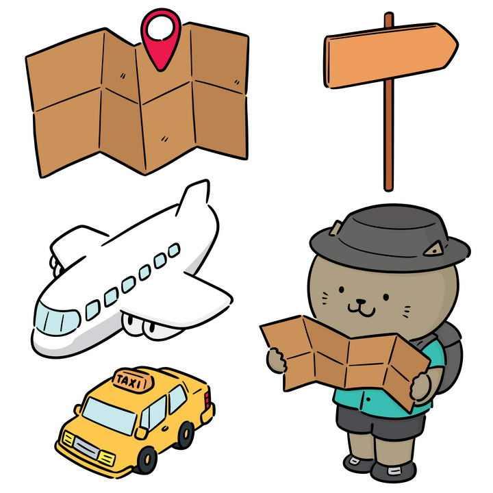 手绘风格的简笔画旅游地图飞机等图片免抠素材