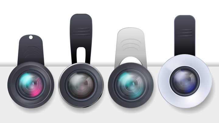 四款手机外置摄像镜头图片免抠素材