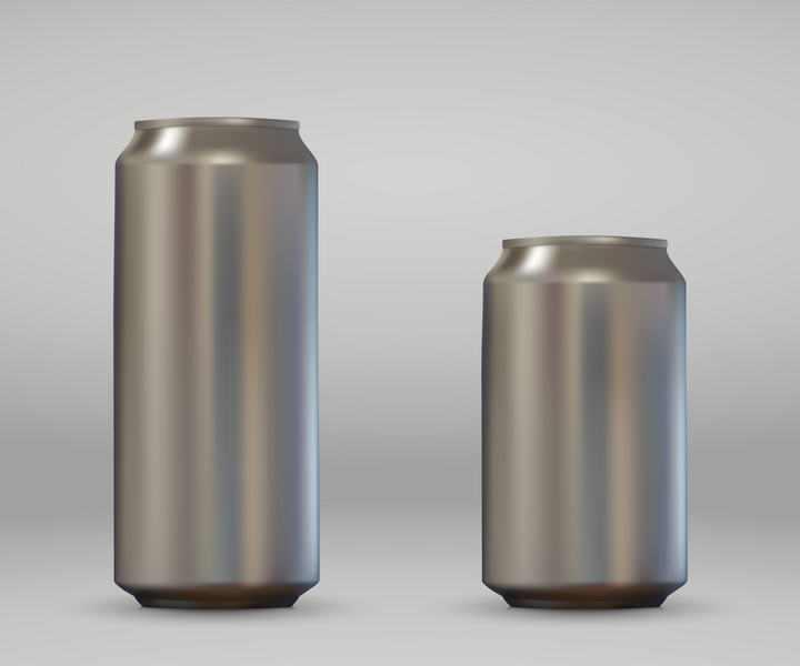 两个金属银色风格的易拉罐免抠矢量图片素材
