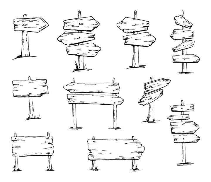 10款黑色线条素描风格木质指示牌免抠矢量图片素材