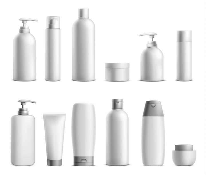 灰白色风格各种化妆品图片免抠素材