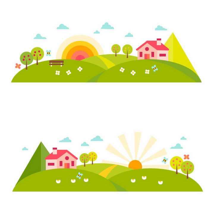 两款扁平化风格农场中的日出风景图免抠矢量图片素材