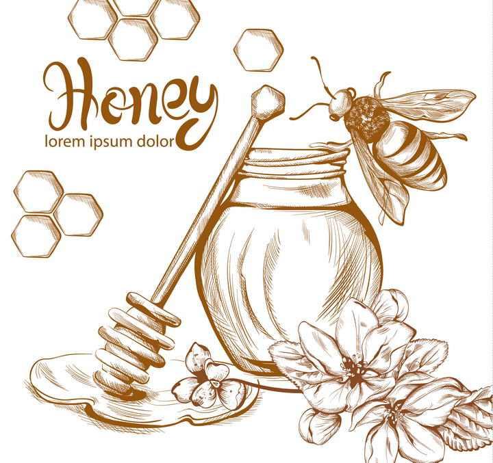 棕色线条手绘涂鸦素描风格蜂蜜罐蜂蜜棒以及小蜜蜂免抠矢量图片素材
